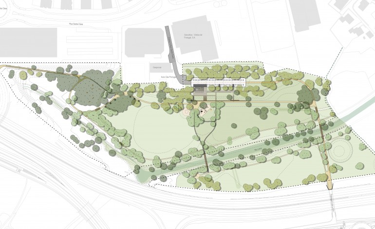 Plano geral do parque que está a nascer junto à A19